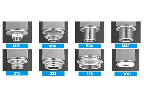 sintered powder filter element connectors